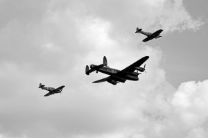 WWII Lancaster Bomber with Spitfire & Hurricane Escort